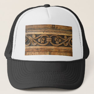 wood panel sculpture trucker hat