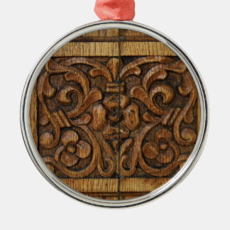 wood panel Silver-Colored round ornament