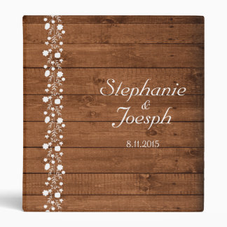 Wood Panel With White Floral Detail | Wedding 3 Ring Binders