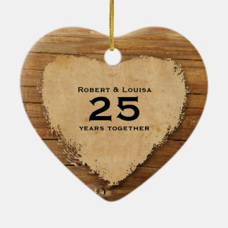 Wood Parchment Heart Love Poem Anniversary Ceramic Ornament
