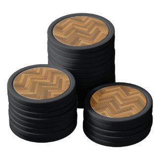Wood Parquet Floor Design Poker Chip Set