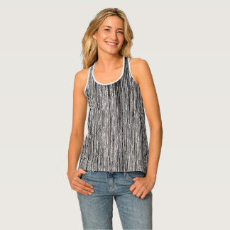 Wood pattern, old tree, vertical line artwork 2 tank top