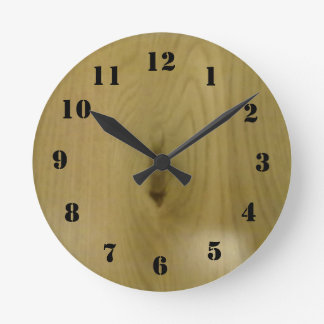 wood pattern round clock
