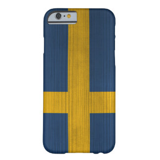 Wood Pattern with Engraved Sweden Flag Barely There iPhone 6 Case