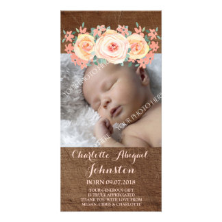 Wood Peach Flowers Thank You Baby Shower Customized Photo Card