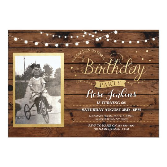 Wood Photo Birthday Lights Rustic Invitation