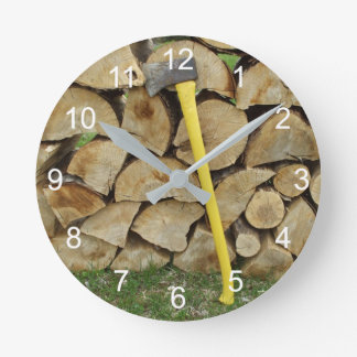Wood Pile and Axe Round Clock
