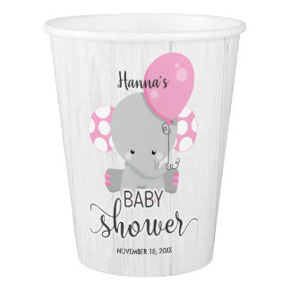 Wood & Pink Elephant Girl Baby Shower Paper Cup