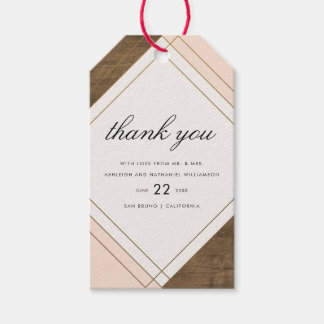 Wood, Pink & Gold Geometric Wedding Thank You Gift Tags