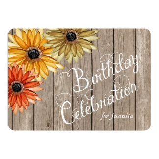 Wood Plank Autumn Flowers Custom Birthday Invite