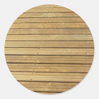 Wood plank brown texture background round sticker