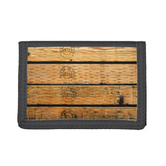 """Wood Plank Stamped with """"Made in USA"""" Tri-fold Wallet"""