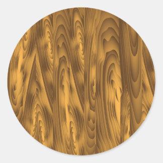 wood planks classic round sticker