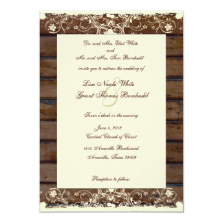 Wood Planks Cream Shabby Lace Wedding Invitation