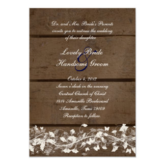 Wood Planks Floral Wedding Invitation