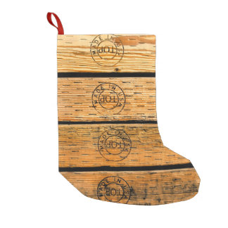 "Wood Planks Stamped with ""Made in USA"" Small Christmas Stocking"