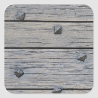 Wood planks with square nails texture that perfect square sticker