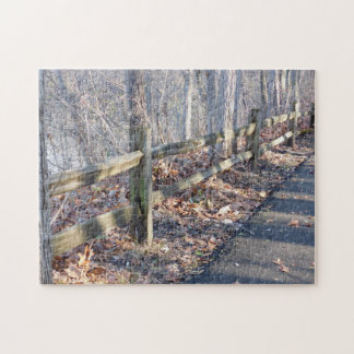 Wood Rail Fence and Shadows in the Woods Jigsaw Puzzle