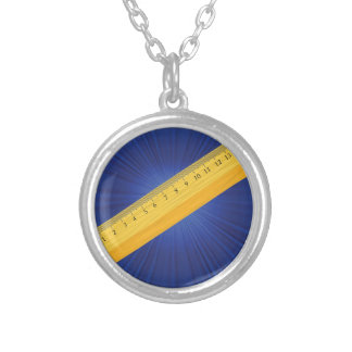 wood ruler silver plated necklace