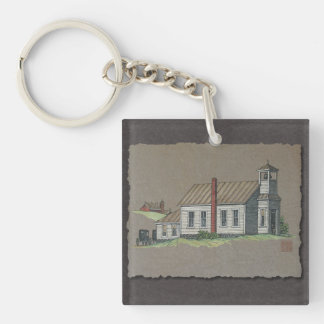 Wood Rural Church Keychain