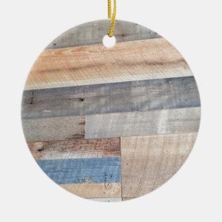 Wood rustic ceramic ornament