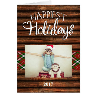Wood Rustic Happiest Photo Folded Christmas Card