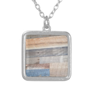 Wood rustic silver plated necklace