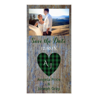 Wood Rustic Wedding Save the Date Plaid Heart Personalized Photo Card