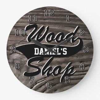 Wood Shop Personalize Large Clock
