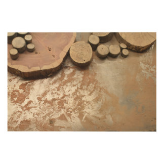 Wood Slices of Many Sizes with Sawdust Wood Wall Decor