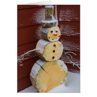 Wood snowman Holiday Card