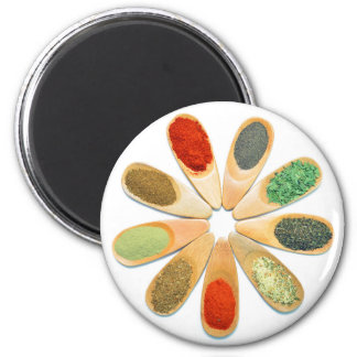 wood spoon spice food ingredient condiment flower 2 inch round magnet