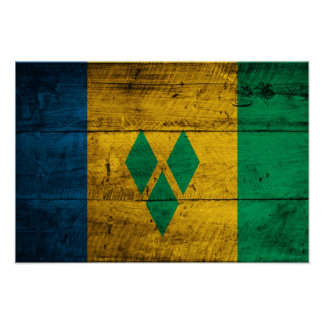 Wood St. Vincent & Grenadines Flag Poster
