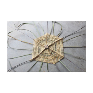 Wood String & Cattail Leaves Assemblage Centered Canvas Print