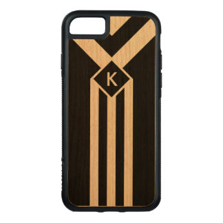 Wood Stripes and Chevrons on Black with Monogram Carved iPhone 8/7 Case