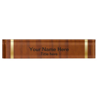 Wood Style Gold Bar Name Plate