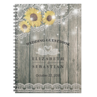 Wood Sunflower Lace String Light Wedding Guestbook Notebooks