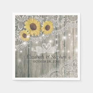 Wood Sunflowers Lace String Lights Wedding Shower Paper Napkin