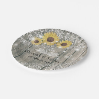 Wood Sunflowers Lace String Lights Wedding Shower Paper Plate