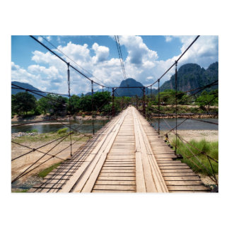 Wood Suspension Bridge over River, Vang Vieng Postcard