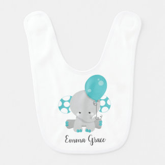 Wood & Teal Elephant Gender Neutral Baby Monogram Bib