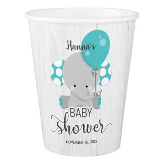 Wood & Teal Elephant Gender Neutral Baby Shower Paper Cup