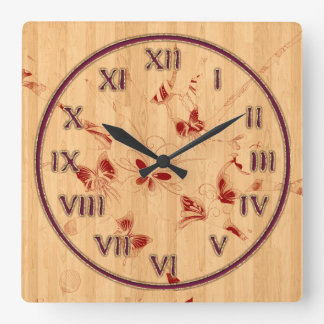 Wood Texture and Butterflies Square Wall Clock