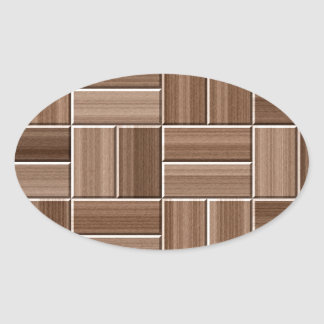Wood texture oval sticker