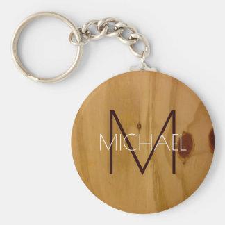 wood texture rustic monogram , elegant basic round button keychain