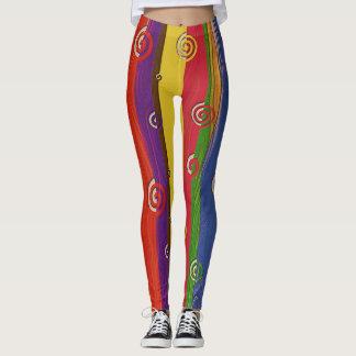 Wood textured color leggingd leggings