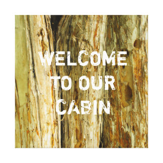 Wood-Themed Canvas Welcome Decoration