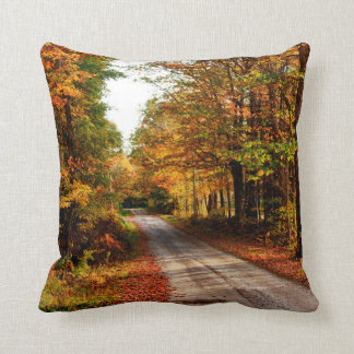Wood trail with fall foliage throw pillow
