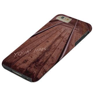 Wood train tracks monogrammed tough iPhone 6 plus case