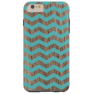 Wood turquoise chevron zig zag zigzag pattern tough iPhone 6 plus case